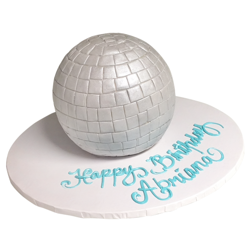 3D round white cake
