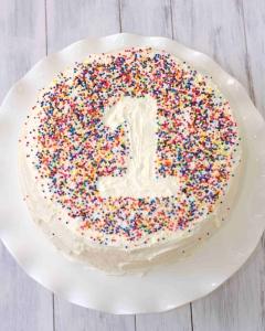 First Birthday sprinkled cake