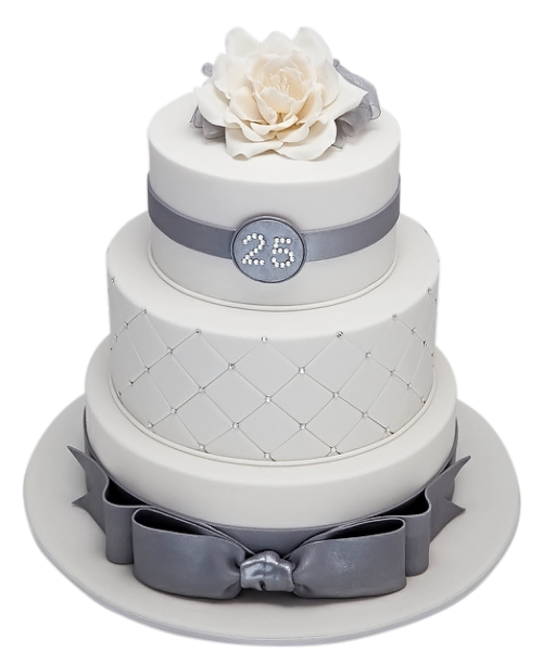 silver birthday cake